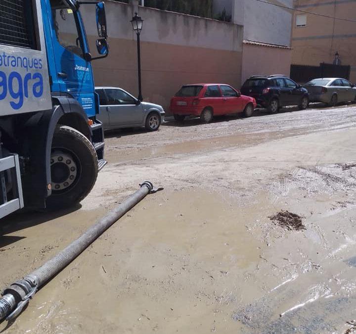 Trabajando tras las lluvias torrenciales en Las Gabias